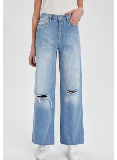 DeFacto Wide Leg Yırtık Detaylı Jean Pantolon Mavi